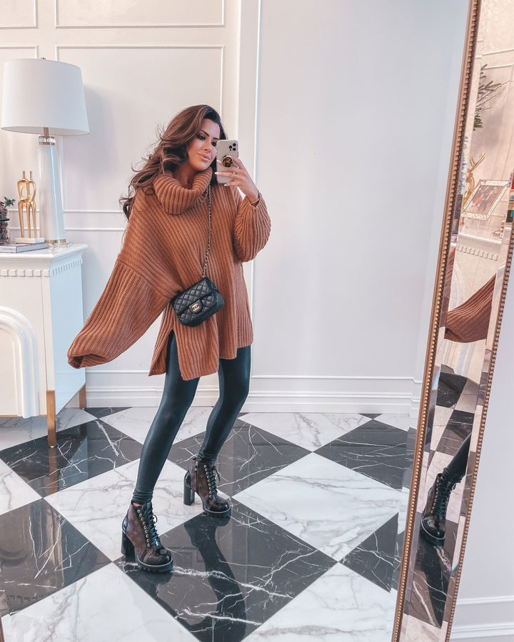 oversized turtleneck sweater, faux leather leggings, Louis Vuitton star trail boots, Chanel crossbody bag, mirror selfie, Emily Gemma