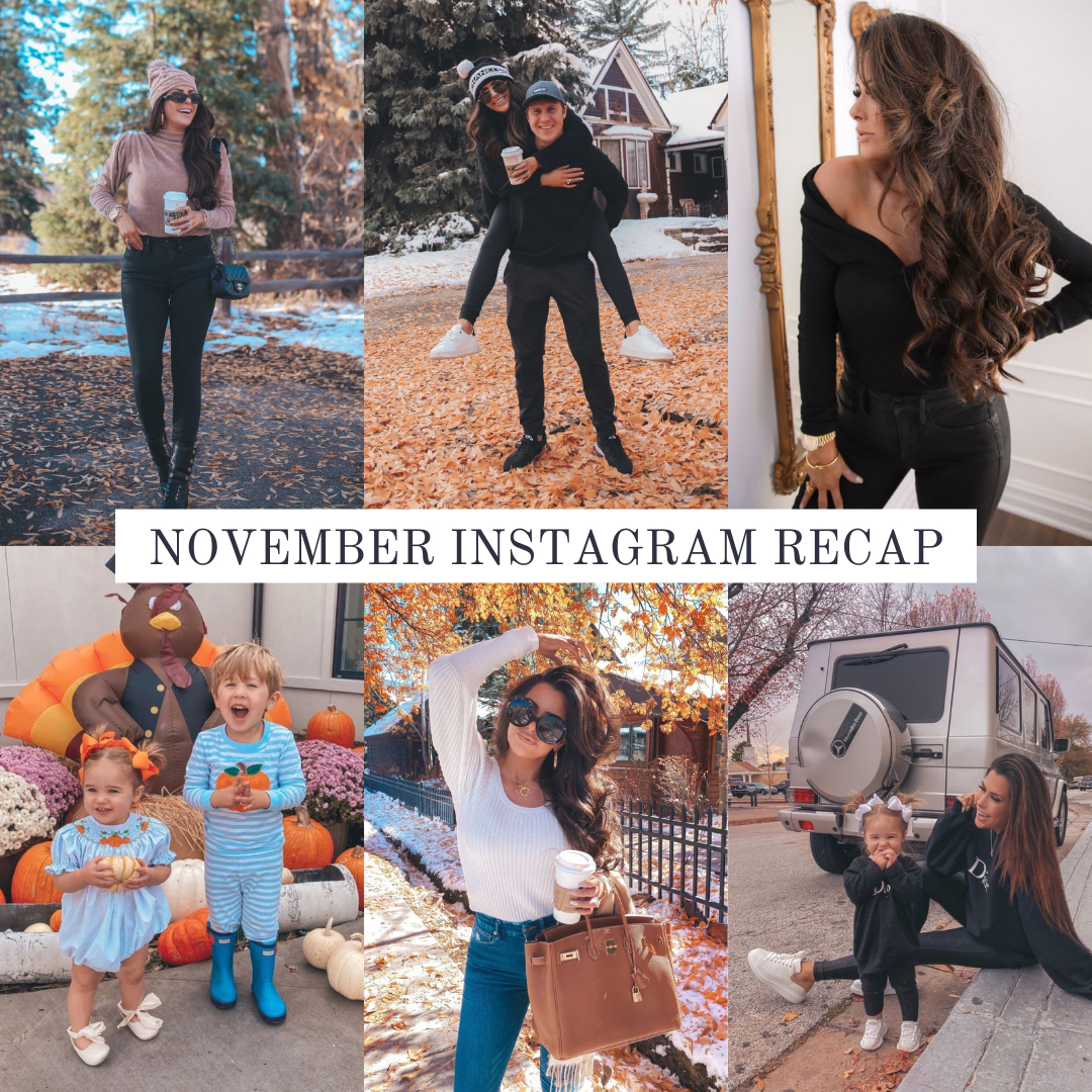 Instagram Fashion by popular US fashion blog, The Sweetest Thing: collage image of a woman wearing various outfits. | November Instagram Recap by popular US lifestyle blog, The Sweetest Thing: collage image of some of Emily Gemma's November Instagram pictures.