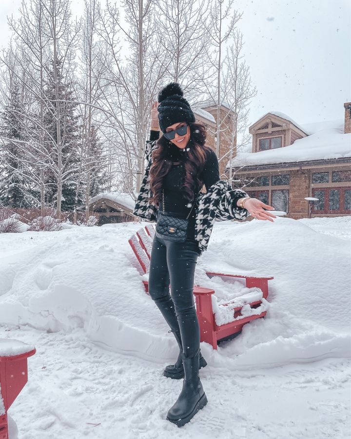 Snow style, knit pom pom beanie, combat boots, faux leather pants, shacket, houndstooth jacket, chanel black crossbody bag, winter outfit ideas