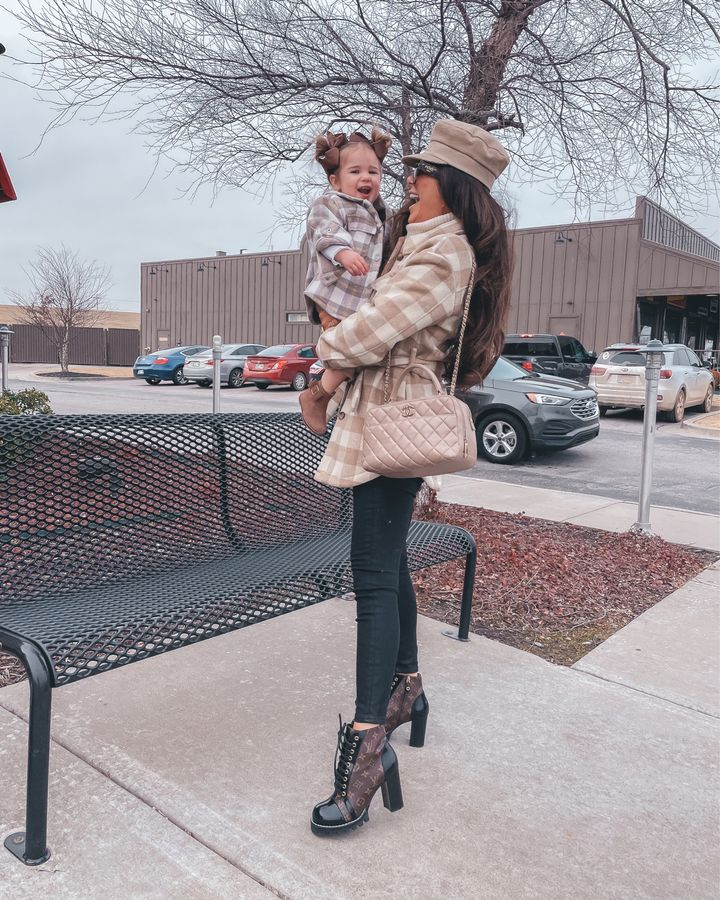 Louis Vuitton star trail ankle boots, shacket, chanel quilted handbag, black skinny jeans, fall outfit ideas, mommy daughter outfit ideas, christian dior cap, high heeled booties