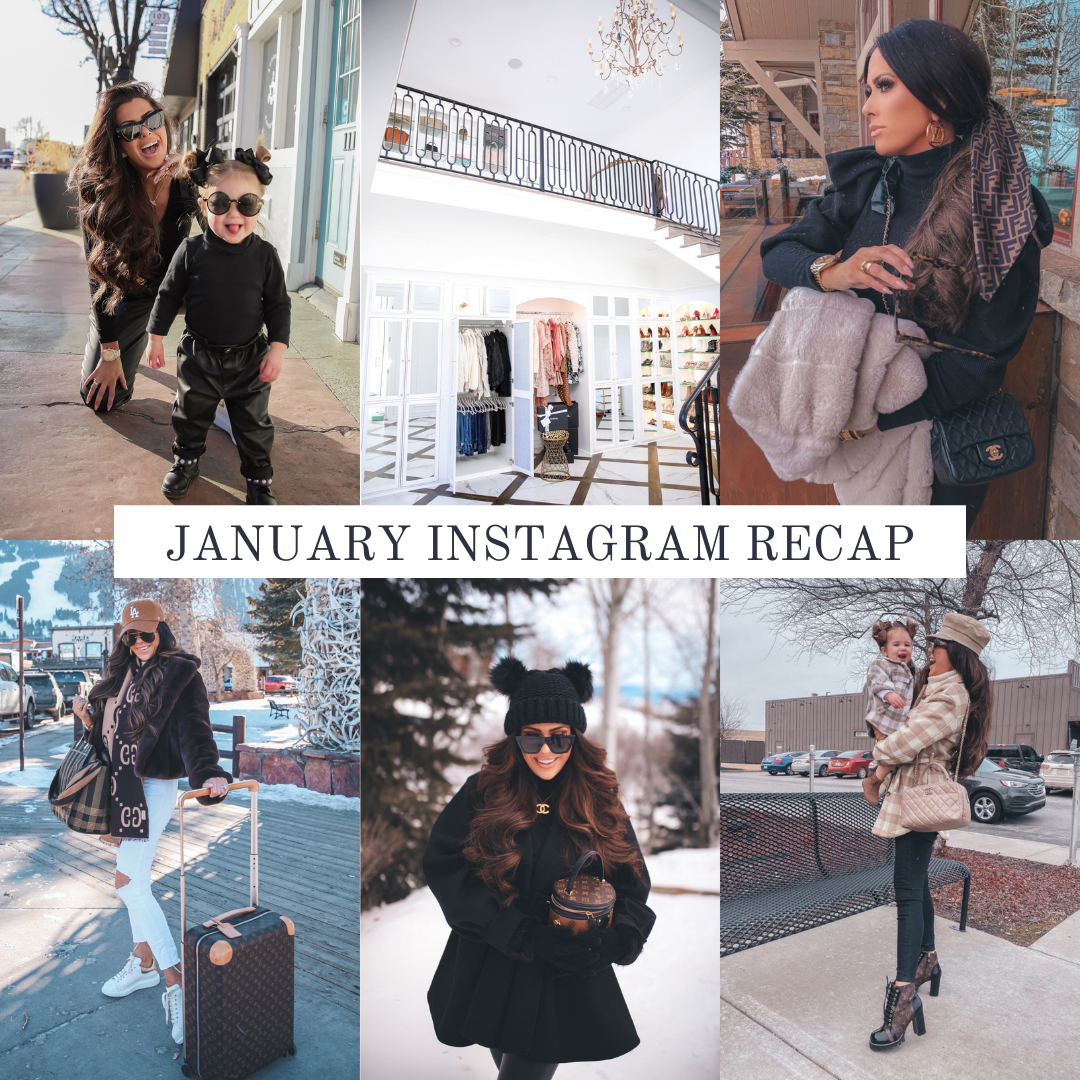 Instagram Fashion by popular US fashion blog, The Sweetest Thing: collage image of a woman wearing various outfits. | January Instagram Recap by popular US lifestyle blog, The Sweetest Thing: collage image of some of Emily Gemma's January Instagram pictures.