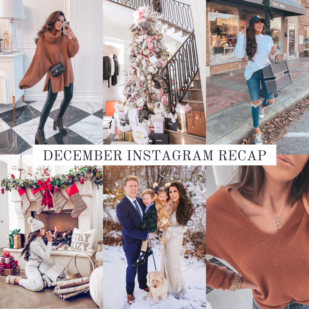 Instagram Fashion by popular US fashion blog, The Sweetest Thing: collage image of a woman wearing various outfits. | December Instagram Recap by popular US lifestyle blog, The Sweetest Thing: collage image of some of Emily Gemma's December Instagram pictures.