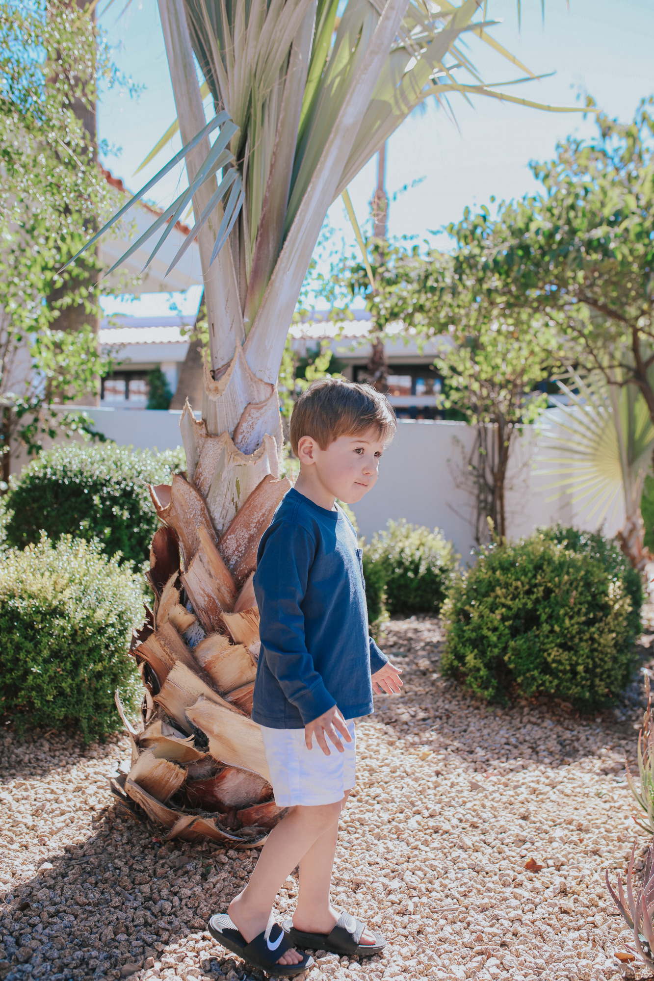 toddler boy vineyard vines |Mom Jeans by popular US fashion blog, The Sweetest Thing: image of a little boy standing outside in Scottsdale, Arizona and wearing a Vineyard Vines t-shirt and tan shorts with a pair of Nike slide sandals.