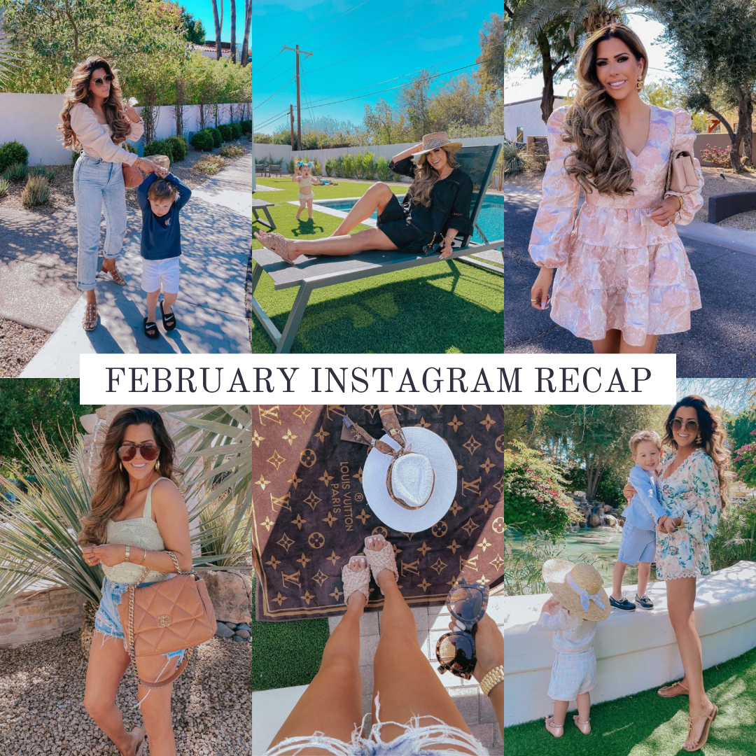 Instagram Fashion by popular US fashion blog, The Sweetest Thing: collage image of a woman wearing various outfits. | February Instagram Recap by popular US lifestyle blog, The Sweetest Thing: collage image of some of Emily Gemma's February Instagram pictures.