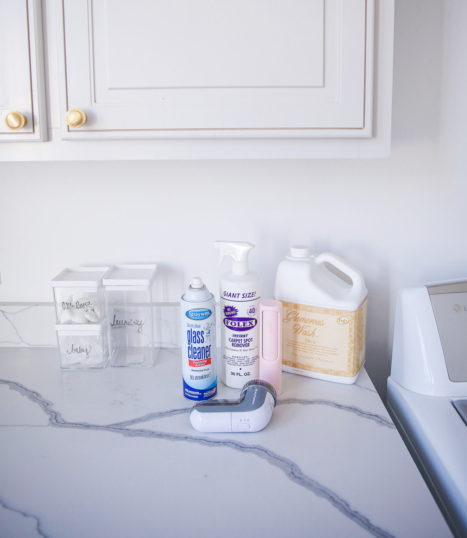amazon must haves, laundry room amazon must haves cleaner and detergent, diva detergent amazon |Amazon Must Haves by popular US life and style blog, The Sweetest Thing: image of spray away glass cleaner, Folex carpet spot remover, Glamorous Wash Diva, and lint collector.