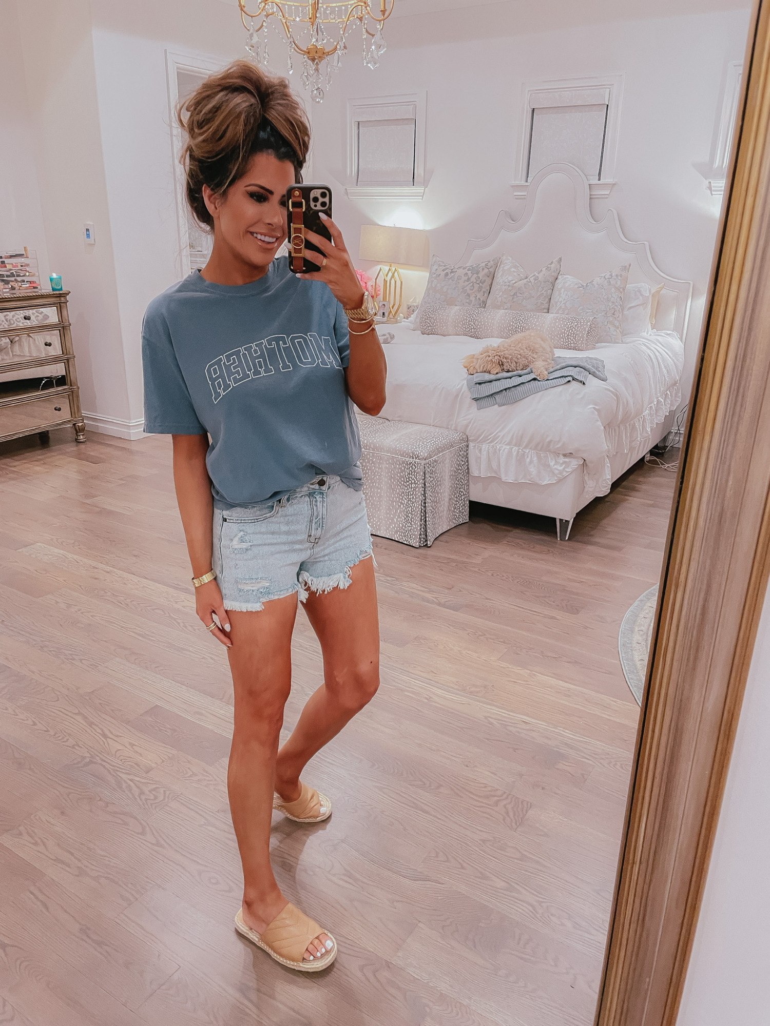 Mother T-Shirt, Cute T-Shirt, Denim Shorts, Affordable Denim Shorts, Slide Sandals, Nude Slide Sandals, Emily Ann Gemma, Mother's Day Gift Idea, Jean Shorts  VICI Fashion by popular US fashion blog, The Sweetest Thing: image of Emily Gemma wearing a VICI Mother t-shirt, cut off denim shorts, and tan slide sandals.