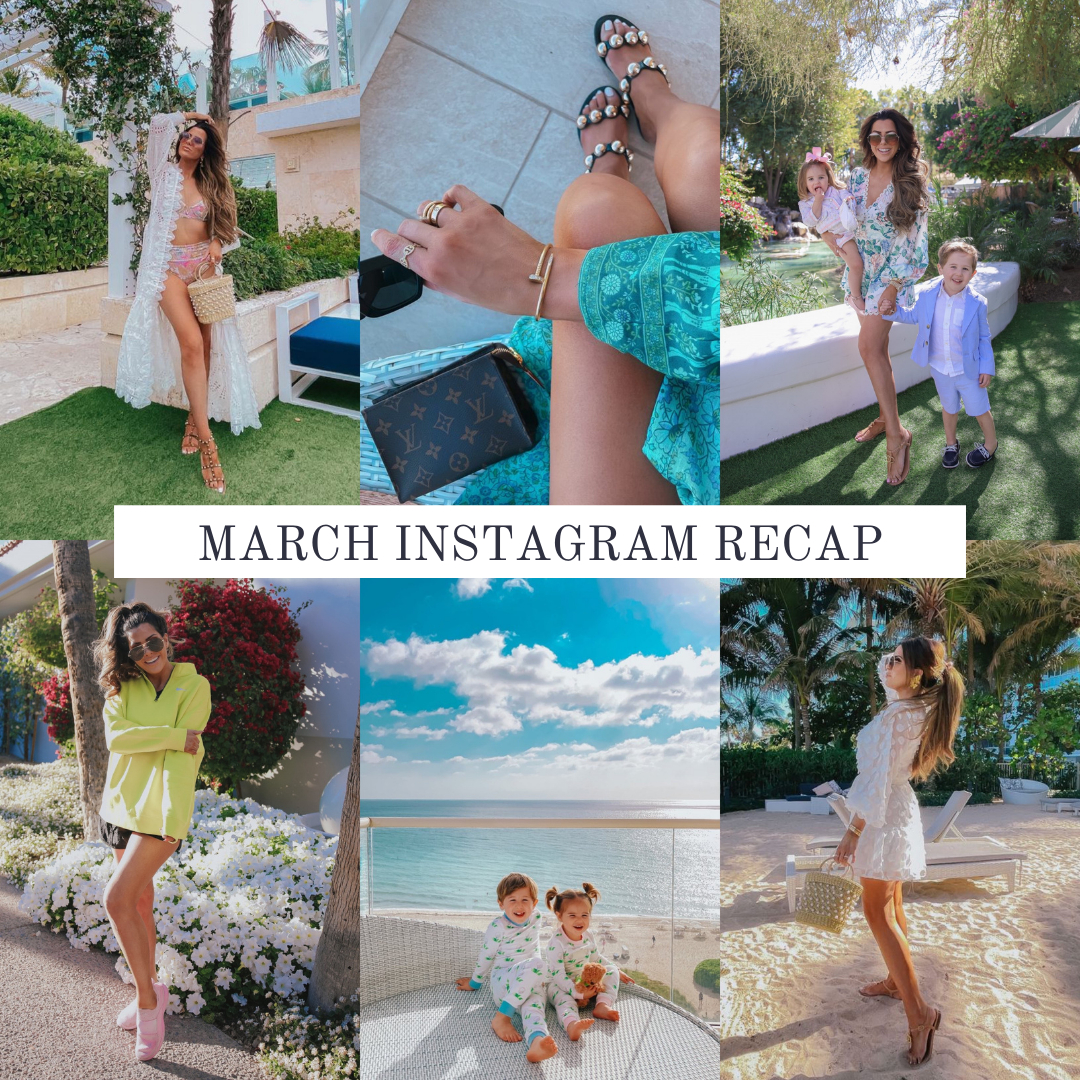Instagram Fashion by popular US fashion blog, The Sweetest Thing: collage image of a woman wearing various outfits. | March Instagram Recap by popular US lifestyle blog, The Sweetest Thing: collage image of some of Emily Gemma's February Instagram pictures.
