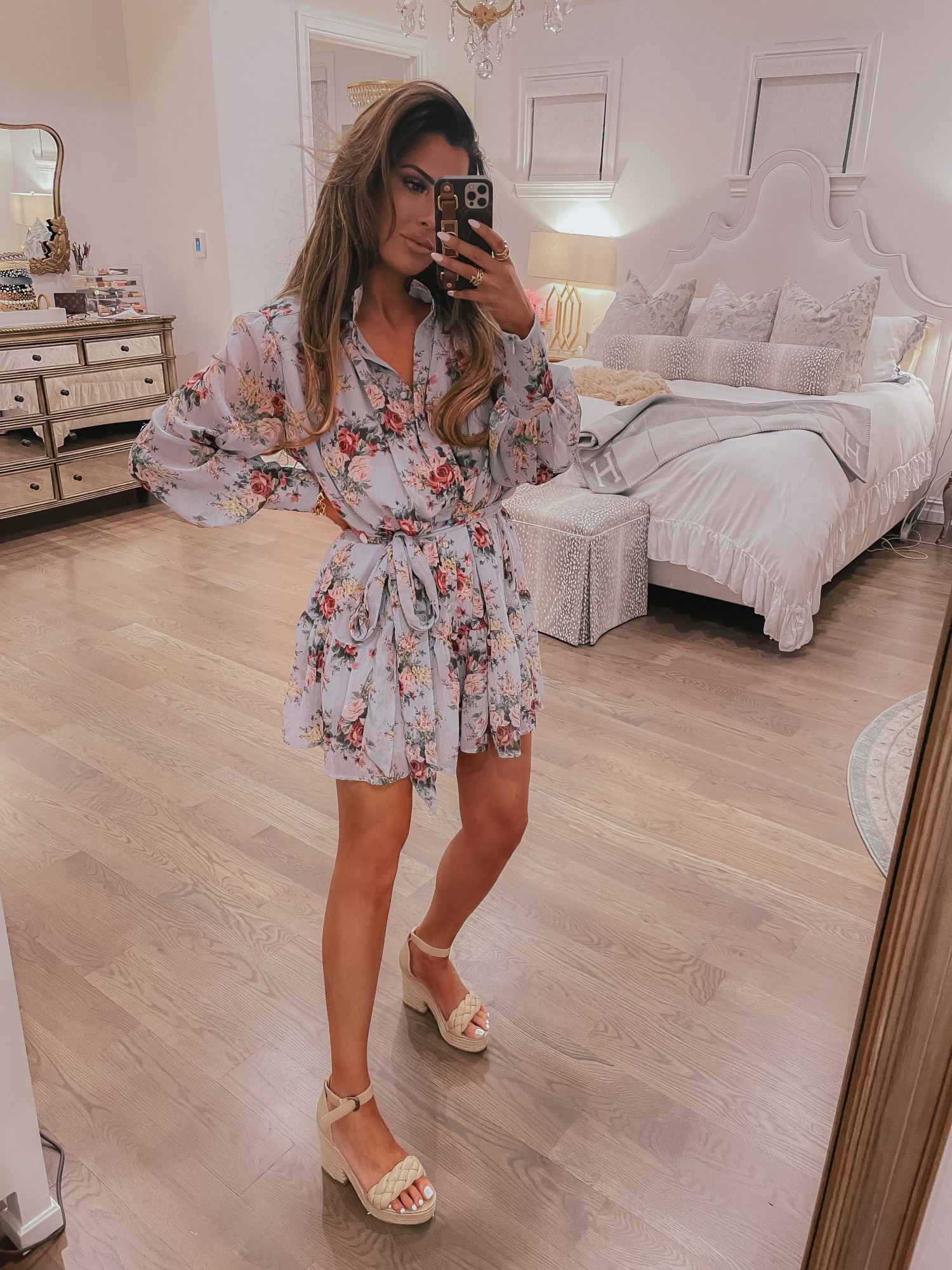 Vici Try On by popular US fashion blog, The Sweetest Thing: image of Emily Gemma wearing a Vici loral print tie waist dress and nude block heel platform sandals.