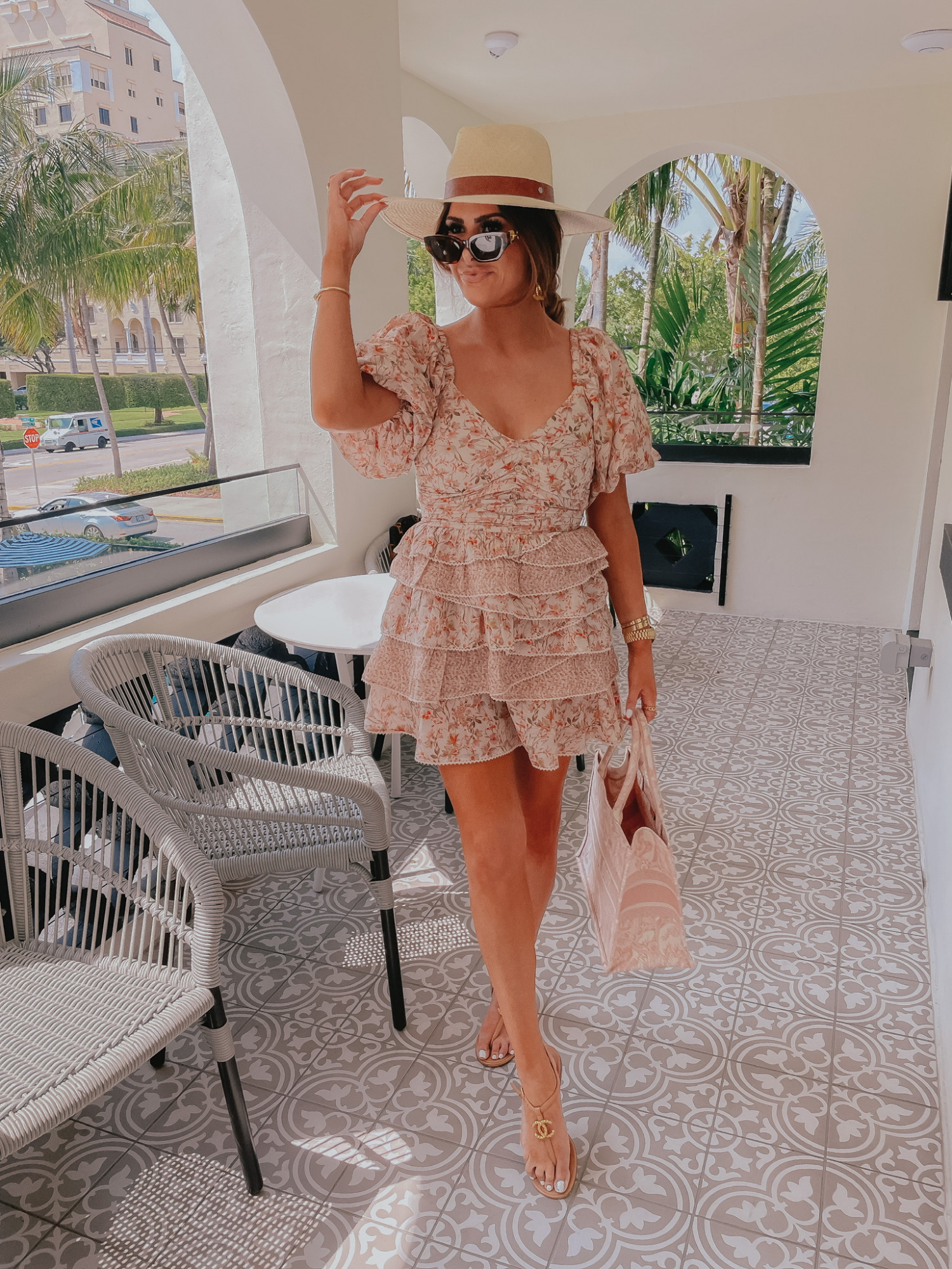 floral dress, ruffled dress, summer dress, Miami outfit of thee day, chanel sandals, Emily gemma