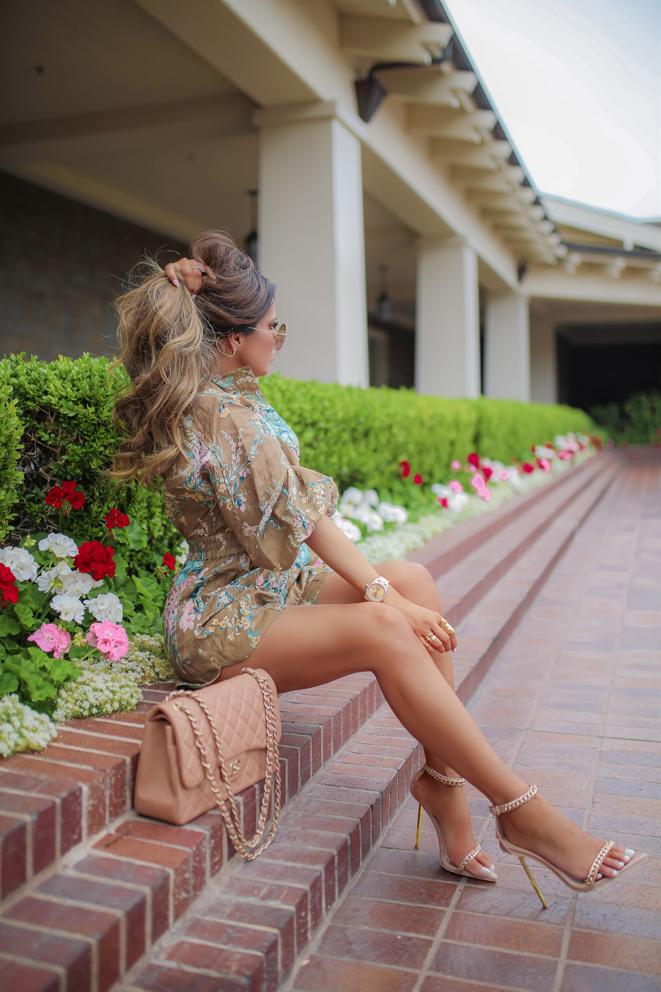 Zimmerman Floral Romper styled by top US fashion blogger, Emily Gemma of The Sweetest Thing