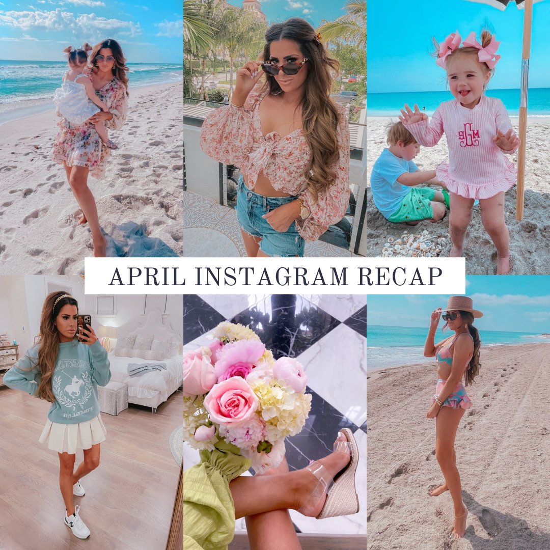 Instagram Fashion by popular US fashion blog, The Sweetest Thing: collage image of a woman wearing various outfits.   April Instagram Recap by popular US lifestyle blog, The Sweetest Thing: collage image of some of Emily Gemma's April Instagram pictures.   April Instagram Recap by popular US fashion blog, The Sweetest Thing: collage image of Emily Gemma and her children wearing a floral print dress, floral print long sleeve crop top, denim shorts, monogram pink and white stripe swimsuit, pink hair bows, white dress, blue and pink floral print swimsuit, straw boater hat, clear strap platform espadrilles, blue polo sweatshirt, and cream pleated tennis skirt.