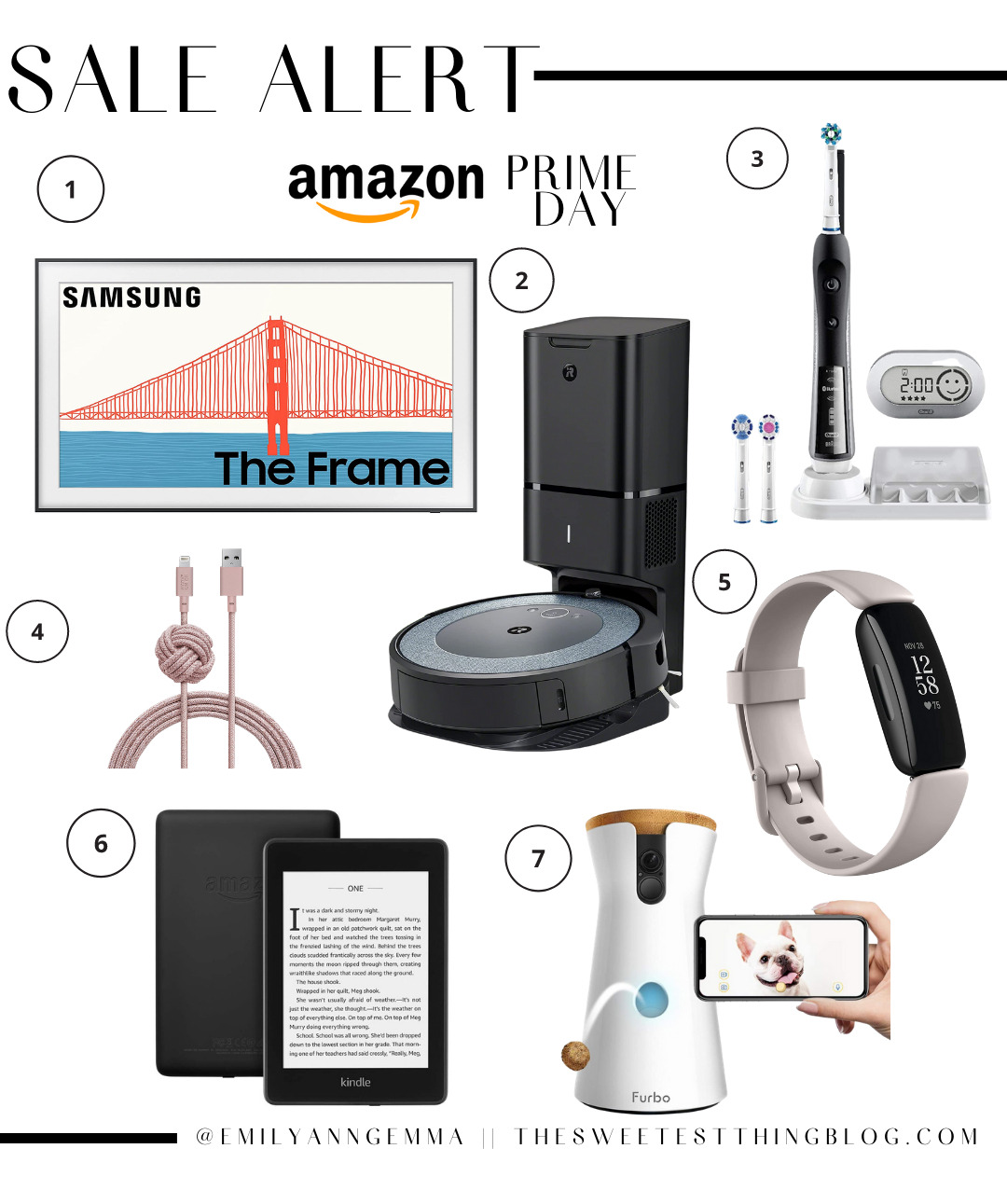 Amazon Prime Day by popular US life and Style blog, The Sweetest Thing: collage image of a Samsung the frame t.v., fit bit, electric toothbrush, charging cord, Furbo treat feeder, Kindle, and Roomba vacuum.