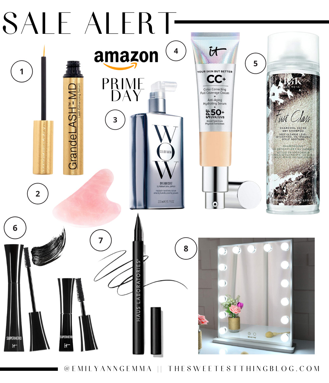 Amazon Prime Day by popular US life and Style blog, The Sweetest Thing: collage image of Grande LASH-MD, WOW face cream, it Cosmetics cc cream, First Class charcoal detox, rose quartz face stone, it Cosmetics super hero mascara, Haus Laboratories eye liner, and lighted makeup mirror.