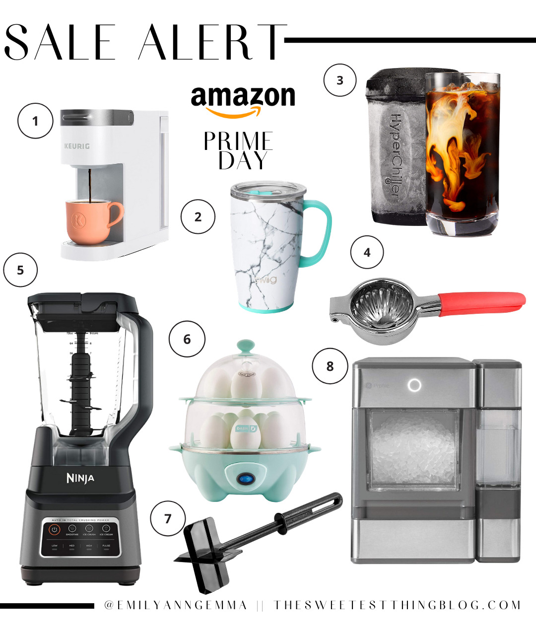 Amazon Prime Day by popular US life and Style blog, The Sweetest Thing: collage image of a lemon squeezer, Hyper Chiller, Keurig coffee maker, Ninja blender, pebble ice machine, rapid egg cooker, insulated thermos, and meat chopper.