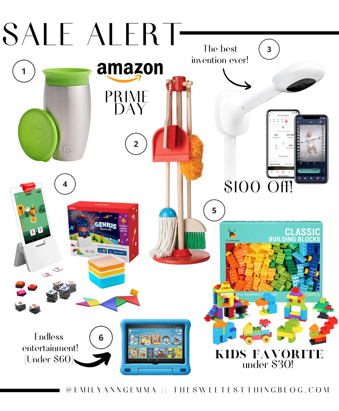 Amazon Prime Day by popular US life and Style blog, The Sweetest Thing: collage image of classic building blocks, Melissa and Doug cleaning playlet, Nanit pro baby monitor, Munchkin Stainless Steel sippy cup, Genius starter kit, and Amazon fire kindle.