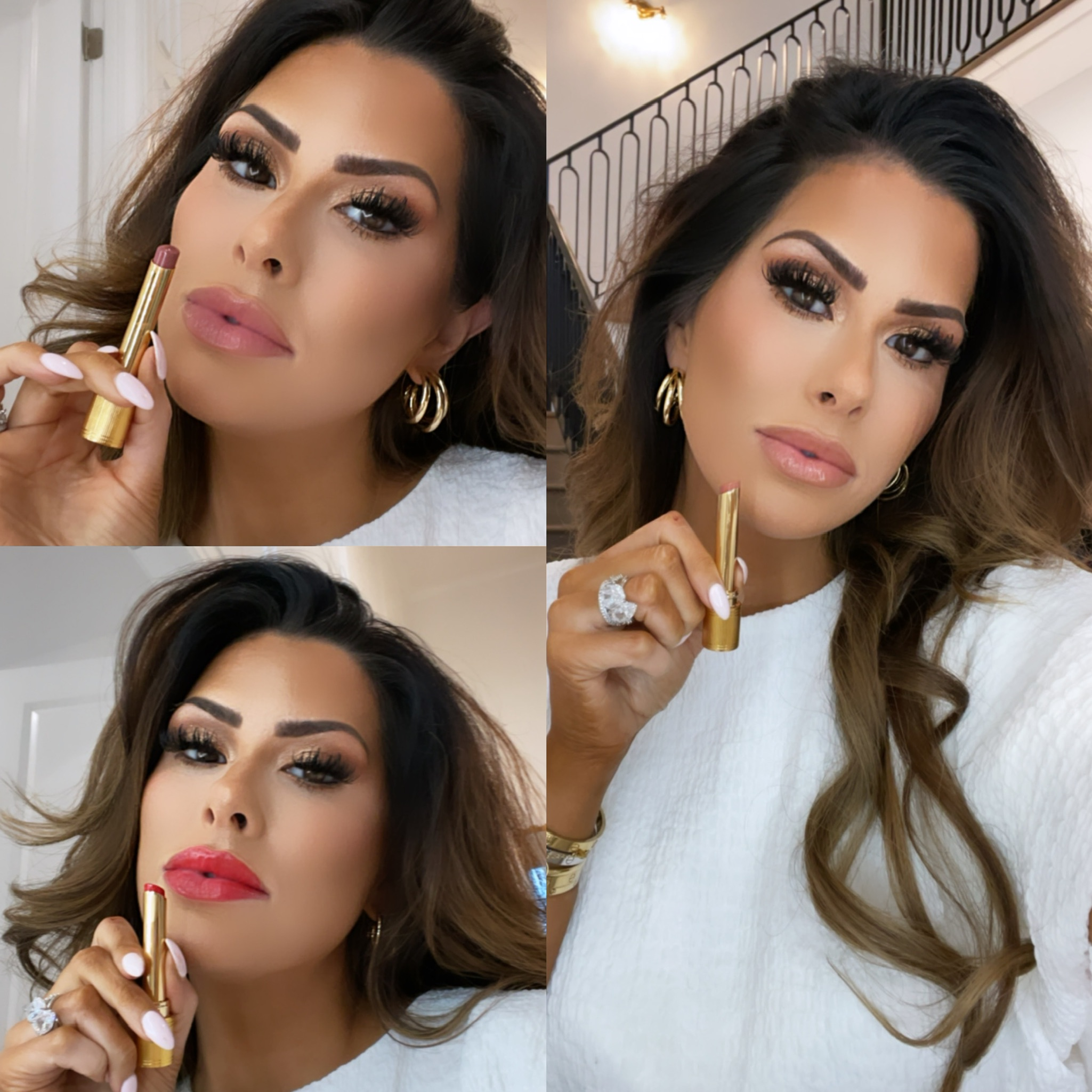 gucci beauty, makeup review, gucci glow lip, best summer lipsticks, Emily Ann gemma makeup routine, gucci lipstick | Instagram Recap by popular US life and style blog, The Sweetest Thing: image of Emily Gemma wearing a white top, gold hoop earrings and holding Gucci lipstick.