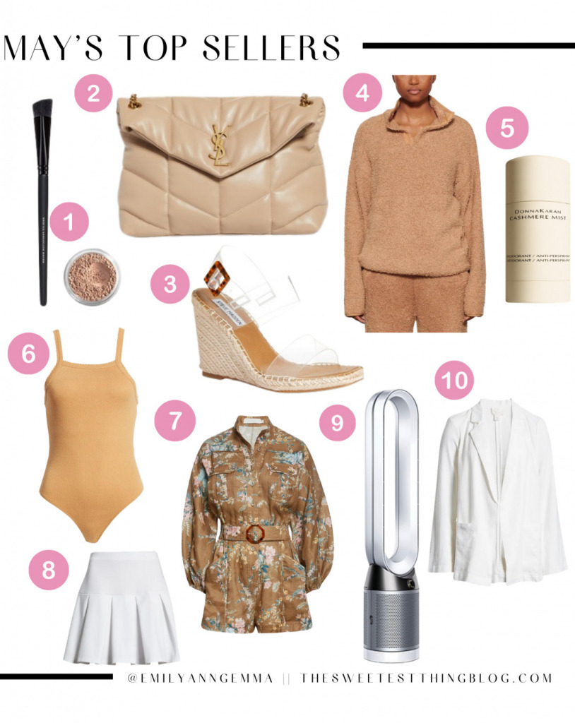 Instagram Recap by popular US life and style blog, The Sweetest Thing: collage image of a tan quilted YSL handbag, tan bodysuit, brown and blue floral utility romper, Dyson fan, white pleated tennis skirt, clear strap wedge espadrilles, angular makeup brush, face powder, white linen blazer, Donna Karan Cashmere mist, and tan sherpa half zip pullover.