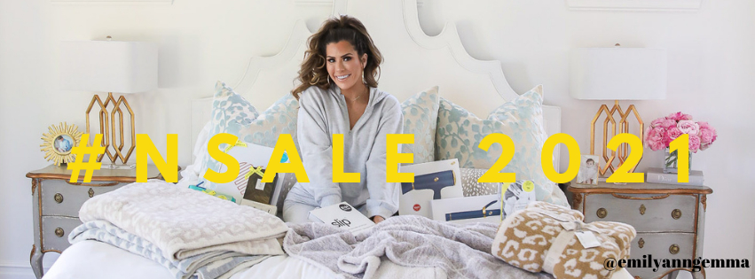 Nordstrom anniversary sale 2021, best picks from Nordstrom Anniversary Sale 2021, nordstrom sale must haves 2021, Emily Gemma nordstrom sale | Nordstrom Anniversary Sale by popular US fashion blog, The Sweetest Thing: image of Emily Gemma sitting in her bed with some Barefoot Dreams blankets and T3 blow dryer and T3 curling iron.