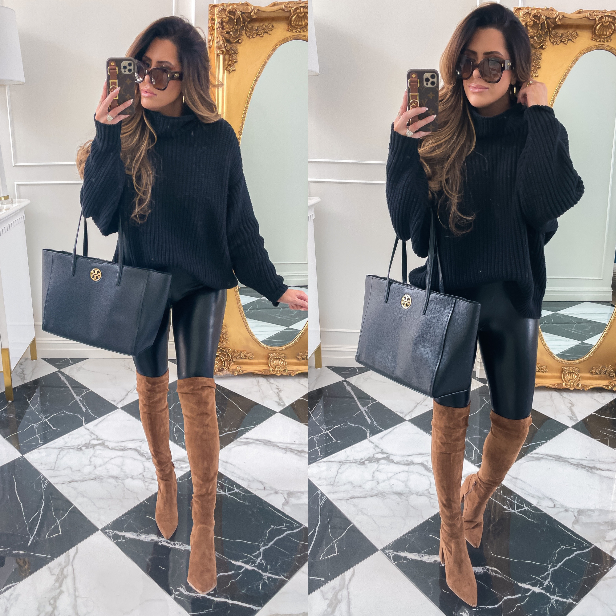 NSALE 2021 picks best of sale emily ann gemma | Nordstrom Anniversary Sale by popular US fashion blog, The Sweetest Thing: image of Emily Gemma wearing a black knit mock neck sweater, black faux leather leggings, brown suede over the knee boots, and holding a black Tory Burch tote bag.