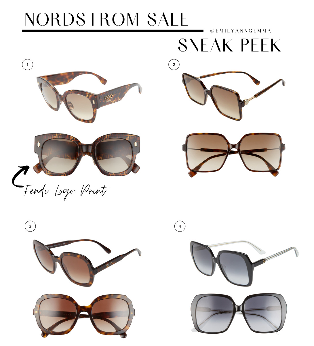 nsale 2021, nordstrom anniversary sale 2021, nSALE sunglasses, must have blog posts nordstrom sale 2020, Emily Ann Gemma, the sweetest thing blog | Nordstrom Anniversary Sale by popular US fashion blog, The Sweetest Thing: image of Nordstrom Sale items. | Nordstrom Anniversary Sale by popular US fashion blog, The Sweetest Thing: collage image of Fendi logo print sunglasses, tortoise shell sunglasses, and square black frame sunglasses.