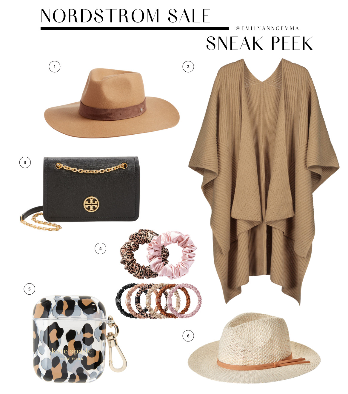 nsale 2021, nordstrom anniversary sale 2021, nSALE hats accessories and bags, must have blog posts nordstrom sale 2020, Emily Ann Gemma, the sweetest thing blog | Nordstrom Anniversary Sale by popular US fashion blog, The Sweetest Thing: image of Nordstrom Sale items. | Nordstrom Anniversary Sale by popular US fashion blog, The Sweetest Thing: collage image of a Rag and Bone wool hat, Tory Burch purse, silk scrunchies, Treasure and Bond woven fedora tan knit kimono, and leopard print AirPods case.
