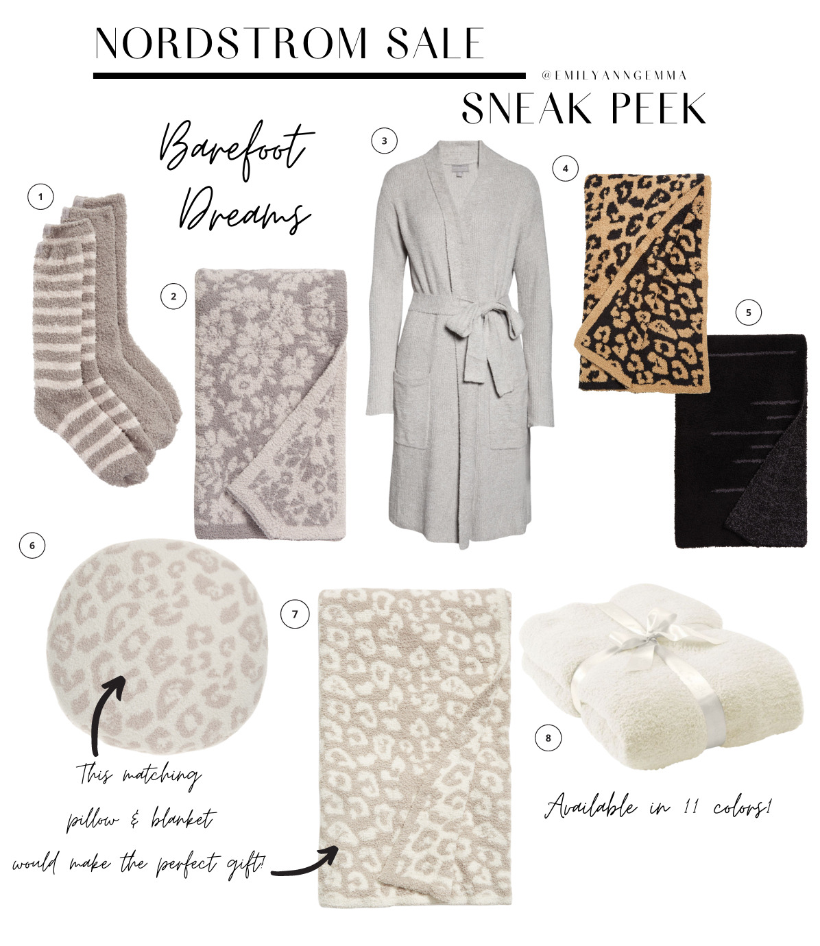 nsale 2021 barefoot dreams, nordstrom anniversary sale 2021 blog posts, nsale preview 2021, emily ann gemma, the sweetest thing blog | Nordstrom Anniversary Sale by popular US fashion blog, The Sweetest Thing: image of various Nordstrom barefoot dreams blanket, Nordstrom Barefoot Dreams Socks, and Nordstrom Barefoot dreams items.