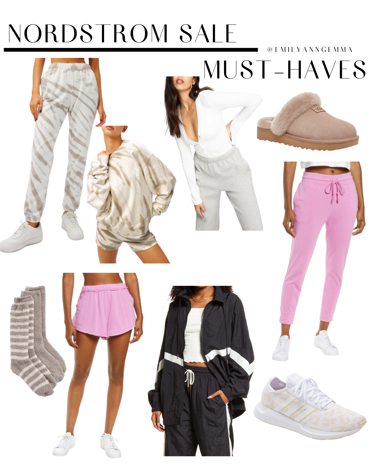 https://www.thesweetestthingblog.com/app/uploads/2021/07/NSALE-Sneek-Preview-9 |  Nordstrom Anniversary Sale by popular US fashion blog, The Sweetest Thing: collage image of tan and white tie dye sweat pants, tan and white tie dye sweat shirt, white long sleeve henley top, UGG slippers, pink tie waist sweatpants, grey fuzzy socks, tan and white leopard print Adidas sneakers, pink shorts, and black and white track suit.