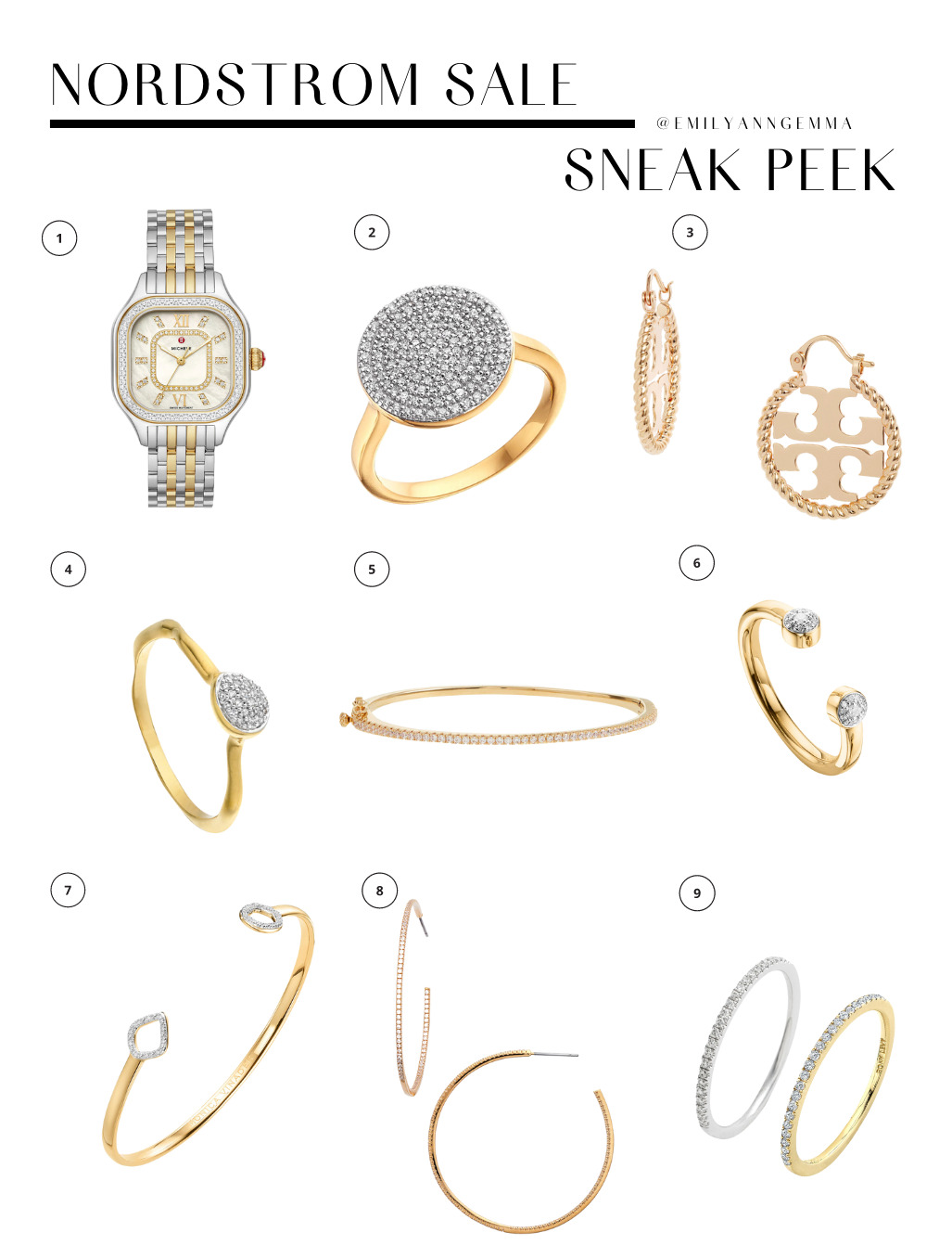 nsale 2021, nordstrom anniversary sale 2021, nSALE watch earrings bracelets and rings, must have blog posts nordstrom sale 2021, Emily Ann Gemma, the sweetest thing blog, Nordstrom Anniversary Sale by popular US fashion blog | Nordstrom Anniversary Sale by popular US fashion blog, The Sweetest Thing: collage image of a watch, Tory Burch hoop earrings, gold hoop earrings, diamond disc ring, diamond stacking rings, CZ bangle, and diamond cuff.