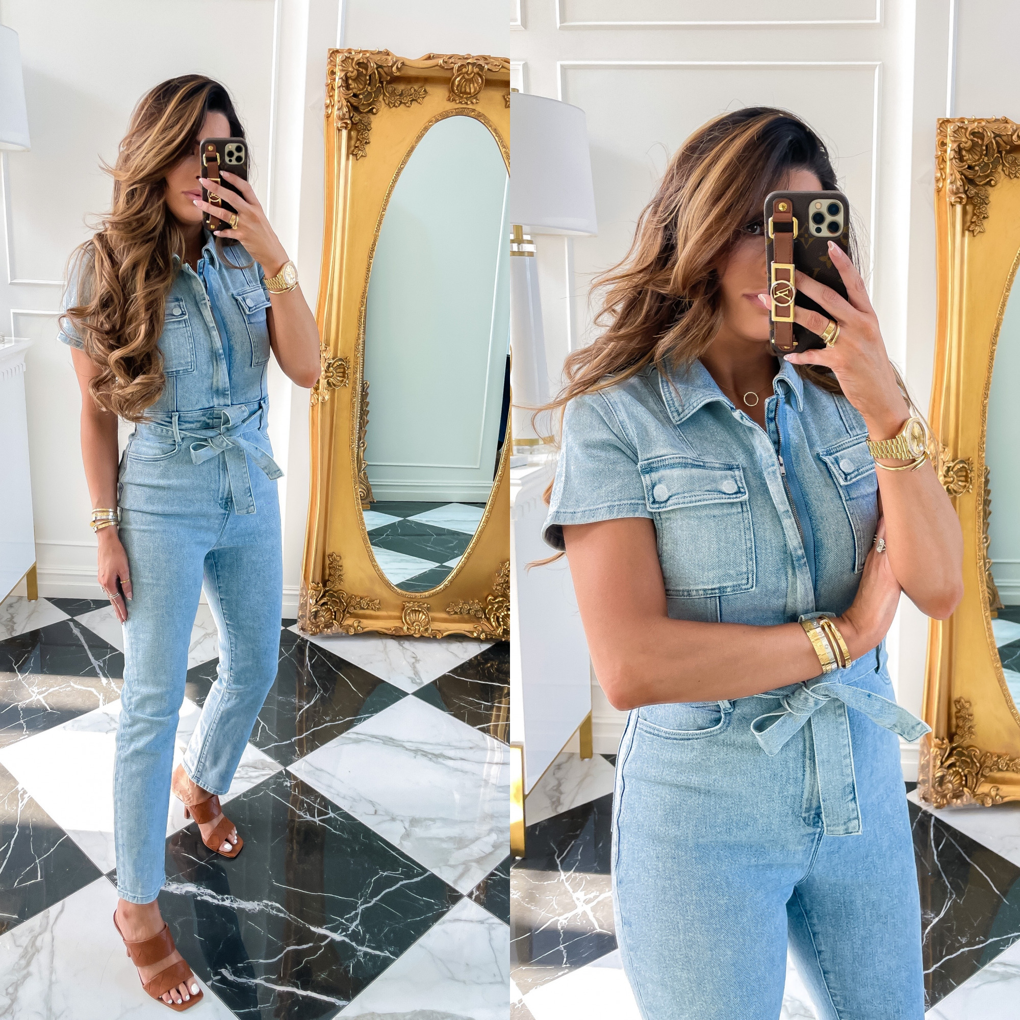 Nordstrom Anniversary Sale 2021 Picks, NSALE 2021 picks must haves, Nordstrom sale 2021 Good american jumpsuit , Emily gemma | Nordstrom Anniversary Sale by popular US fashion blog, The Sweetest Thing: image of Emily Gemma wearing a denim jumpsuit with brown heel slide sandals.