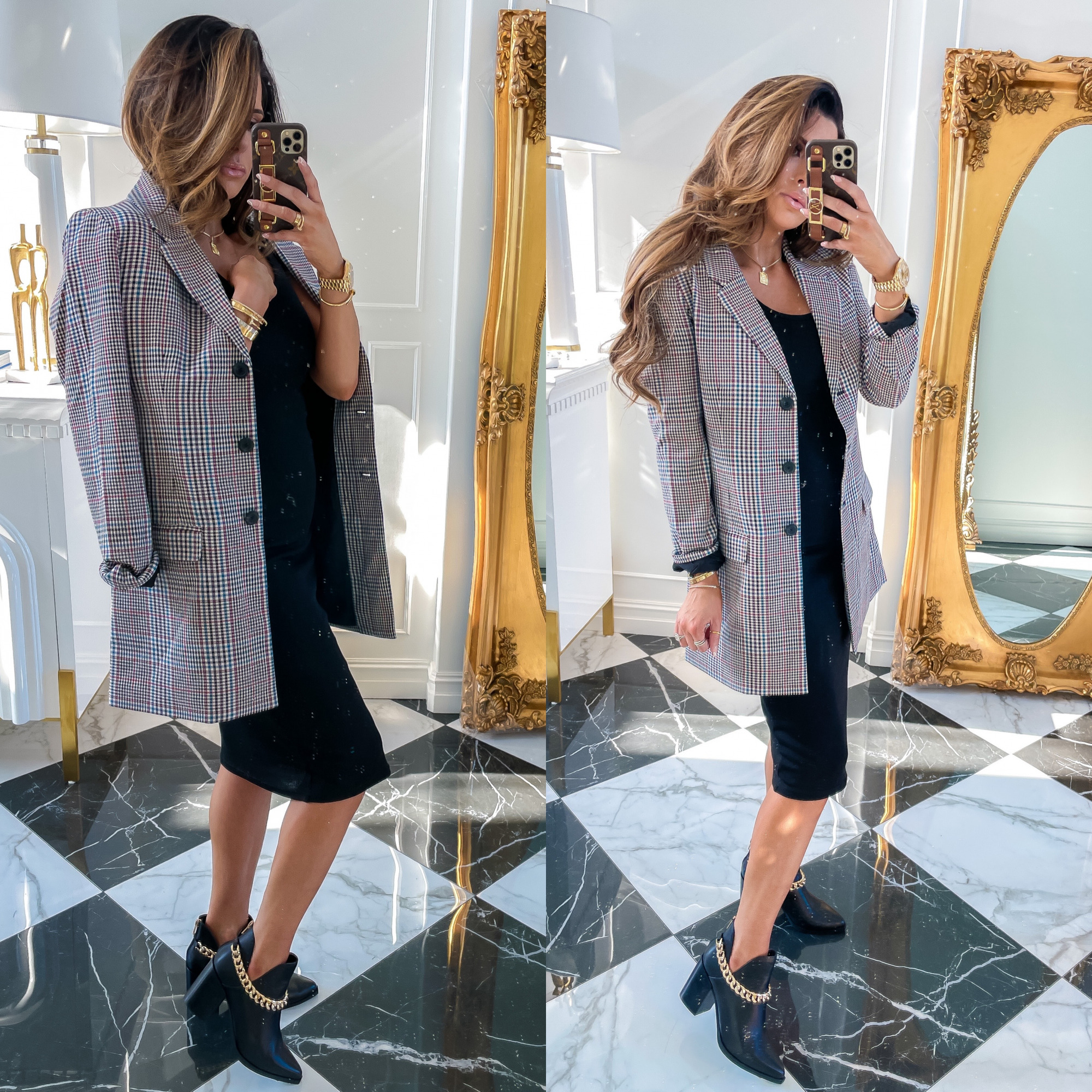 NSALE 2021 BB Dakota jacket and dress, | Nordstrom Anniversary Sale by popular US fashion blog, The Sweetest Thing: image of Emily Gemma wearing a black body con dress, BB Dakota plaid jacket and black gold chain ankle boots.