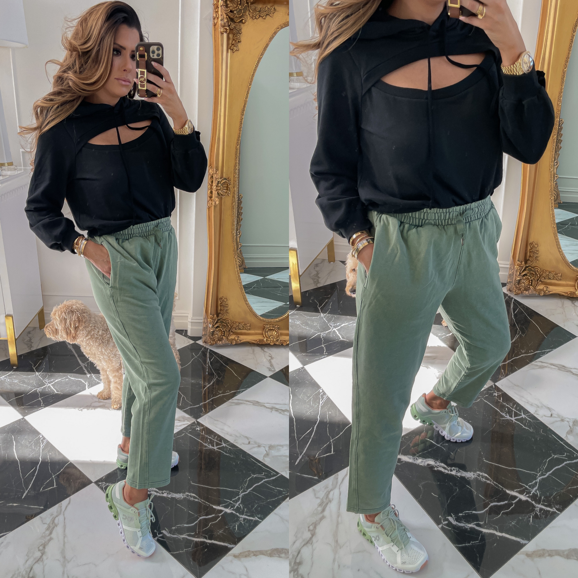 dstrom Anniversary Sale 2021 Picks, best of NSALE 2021, Nordstrom sale must haves blog post, Emily gemma | Nordstrom Anniversary Sale US fashion blog, The Sweetest Thing: image of Emily Gemma wearing a Nordstrom peekaboo hoodie, drawstring pants, and athletic sneakers.