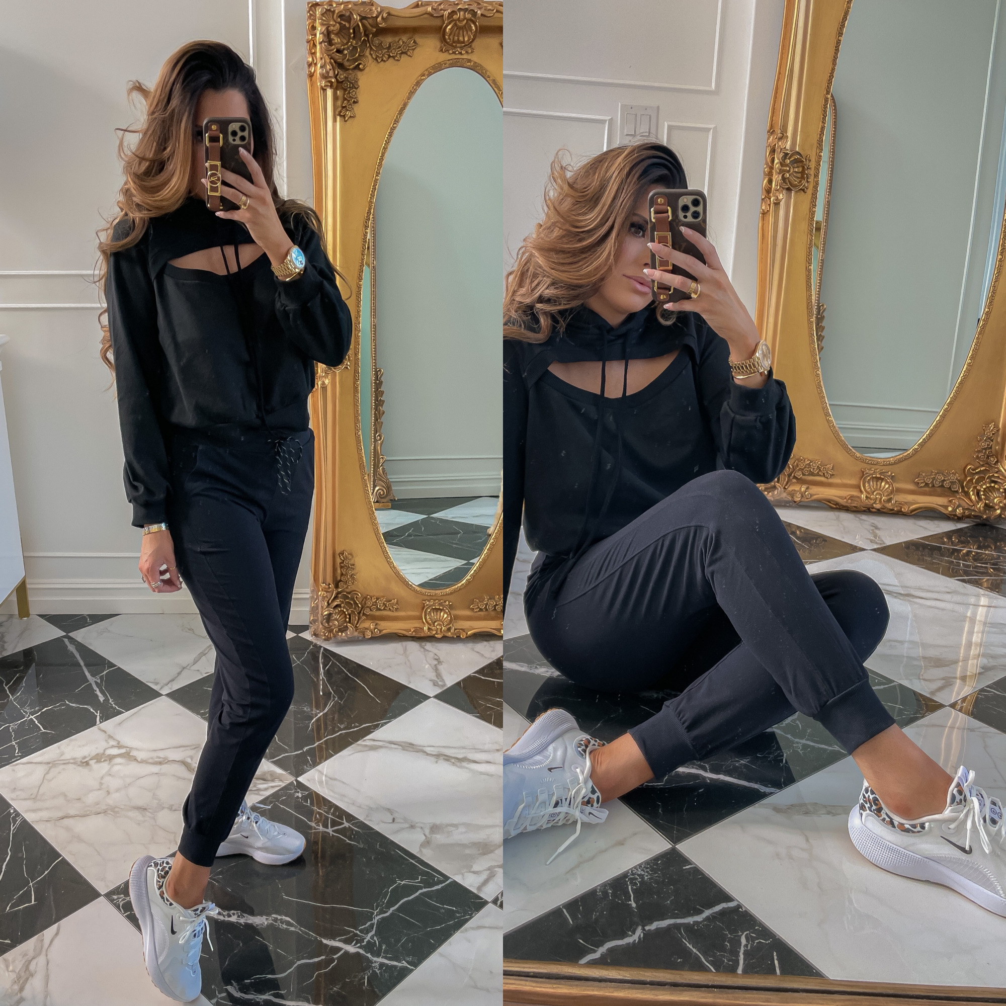 dstrom Anniversary Sale 2021 Picks, best of NSALE 2021, Nordstrom sale must haves blog post, Emily gemma3 | Nordstrom Anniversary Sale US fashion blog, The Sweetest Thing: image of Emily Gemma wearing a Nordstrom peekaboo hoodie, black drawstring joggers and nike sneakers.