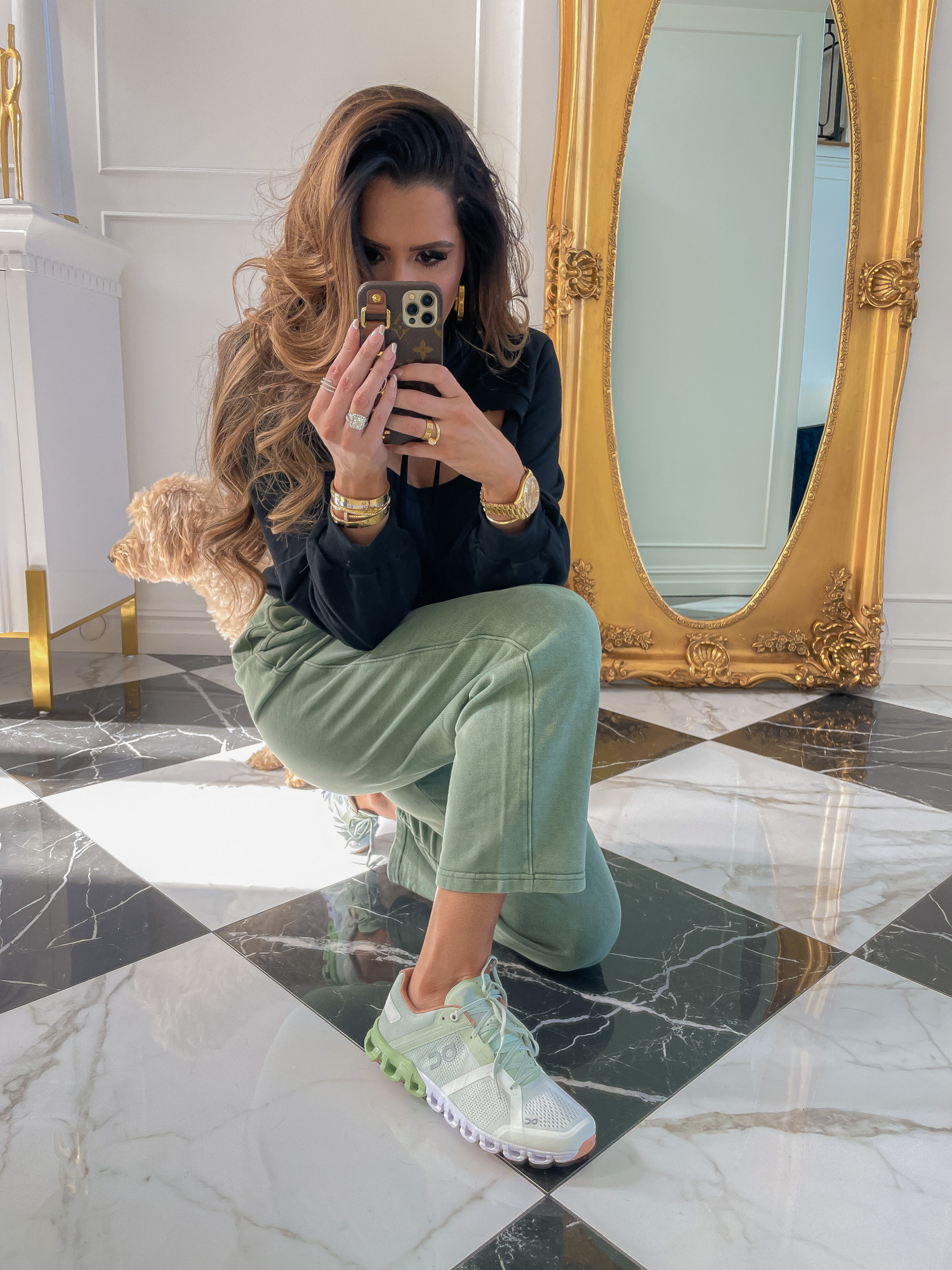 dstrom Anniversary Sale 2021 Picks, best of NSALE 2021, Nordstrom sale on cloud shoes reivew, Emily gemma | Nordstrom Anniversary Sale US fashion blog, The Sweetest Thing: image of Emily Gemma wearing a Nordstrom peekaboo hoodie, drawstring pants, and athletic sneakers.