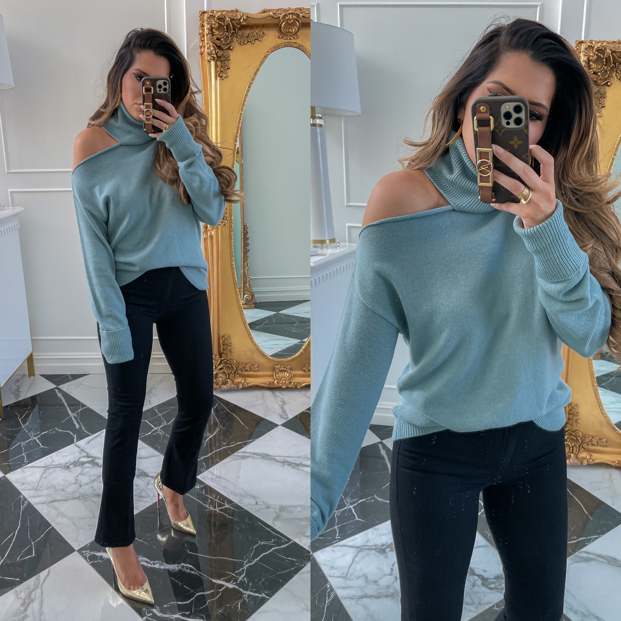 dstrom Anniversary Sale 2021 Picks, best of NSALE 2021 mother jeans, Nordstrom sale must haves blog post, Emily gemma7 \ Nordstrom Anniversary Sale US fashion blog, The Sweetest Thing: image of Emily Gemma wearing a Nordstrom cold shoulder turtleneck sweater, dark wash denim, and gold stilettos.