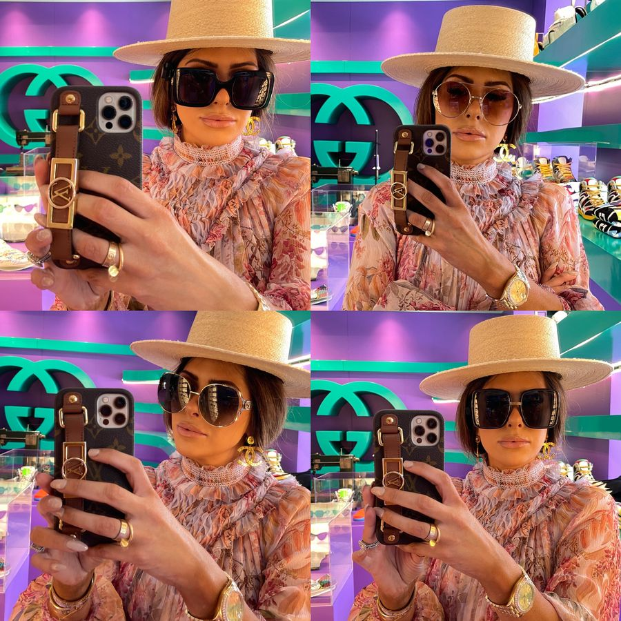 Gucci Sunglasses, Designer Sunglasses, Gucci Sunglass Try ON, Emily Ann Gemma, Best Sunglasses Summer 2021, Emily Ann Gemma   Instagram Recap by popular US life and style blog, The Sweetest Thing: image of Emily Gemma wearing a Lack of Color straw boater hat and floral print Zimmerman dress.