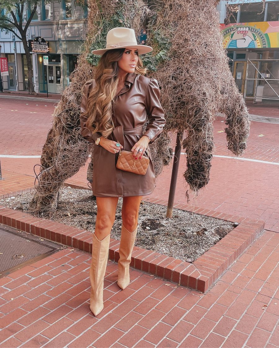 Emily ann gemma rodeo outfit, leather dress, cowboy boots, western style boots, best boots fall 2021, best hats fall 2021, ysl handbag    Instagram Recap by popular US life and style blog, The Sweetest Thing: image of Emily Gemma wearing a brown  leather dress, tan leather Western boots, tan felt rancher hat, and brown YSL crossbody bag.