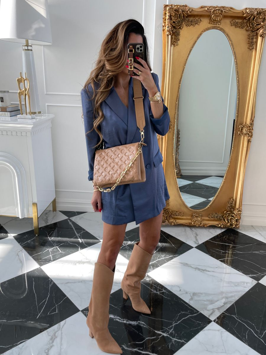 Blazer Dress, Camel Colored Boots, Louis Vuitton Coussin PM , Blue Silk Blazer, Emily Ann Gemma    Instagram Recap by popular US life and style blog, The Sweetest Thing: image of Emily Gemma wearing a Open Edit blue silk blazer dress, tan suede Western boots, and a tan quilted Louis Vuitton crossbody bag.