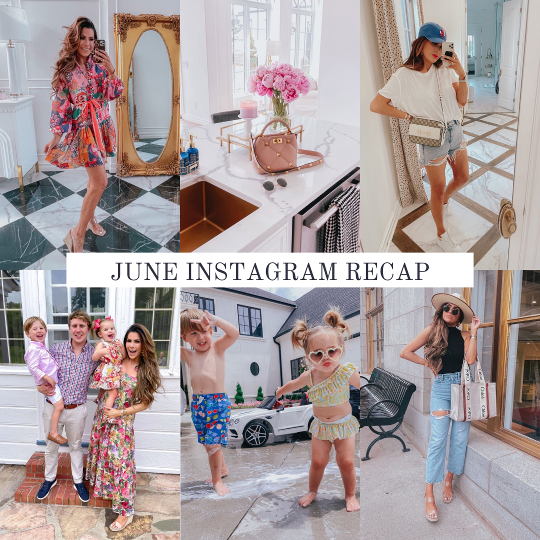 Instagram Fashion by popular US fashion blog, The Sweetest Thing: collage image of a woman wearing various outfits. | May Instagram Recap by popular US lifestyle blog, The Sweetest Thing: collage image of some of Emily Gemma's May Instagram pictures. | May Instagram Recap by popular US fashion blog, The Sweetest Thing: collage image of Emily Gemma wearing summer outfits. Floral dresses, casual summer outfit ideas, family outfit ideas. | June Instagram Recap by popular US fashion blog, The Sweetest Thing: collage image of of Emily Gemma wearing a floral print midi dress, white t-shirt, shorts, ball cap, standing with her husband and two kids, a young boy and girl wearing swimsuits and playing outside and Emily Gemma wearing a black body contour tank, distressed jeans, cream felt fedora hat, and holding a Chloe bag.