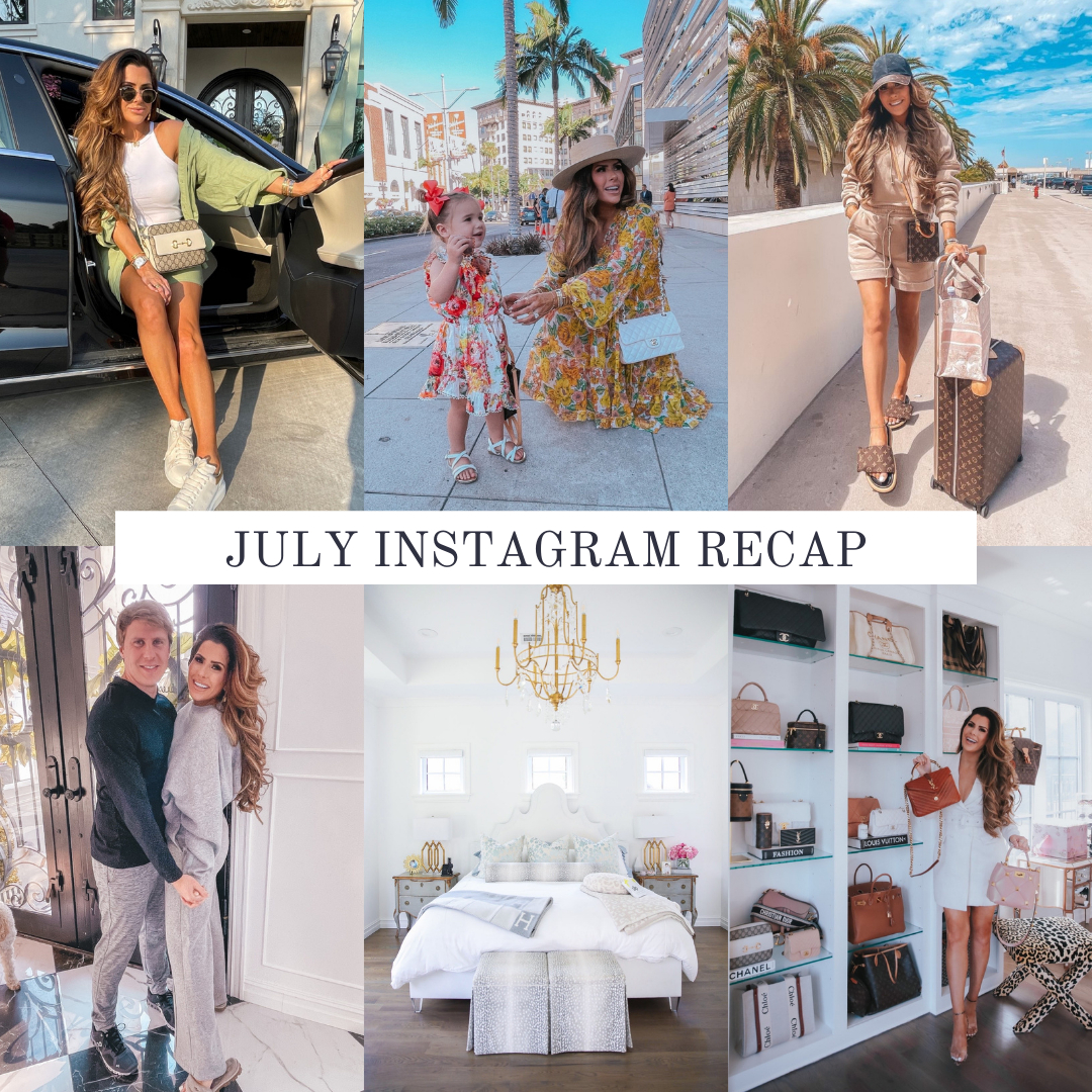 instagram recap July, collage of Emily ann Gemma wearing various outfits   Instagram Recap by popular US life and style blog, The Sweetest Thing: collage image of Emily Gemma getting out of a black car, Emily Gemma with her daughter Sophie, Emily Gemma standing with her luggage next to some palm trees, Emily Gemma standing next to her husband, Emily Gemma' master bedroom, and Emily Gemma standing next to some of her designer handbags.