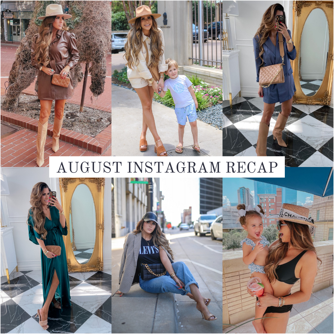 Instagram Recap by popular US life and style blog, The Sweetest Thing: collage image of Emily Gemma wearing a brown shirt dress and tan felt rancher hat with tan knee high cowboy boot, utility romper with a brown felt rancher hat and brown block heel slide sandals, blue blazer dress with brown suede knee high cowboy boots, emerald green maxi wrap dress with tan braided strap sandals and holding a brown YSL clutch, black faux leather baseball cap with a black Levi's t-shirt, Black and cream plaid blazer and jeans, black bikini with a Chloe straw boater hat.