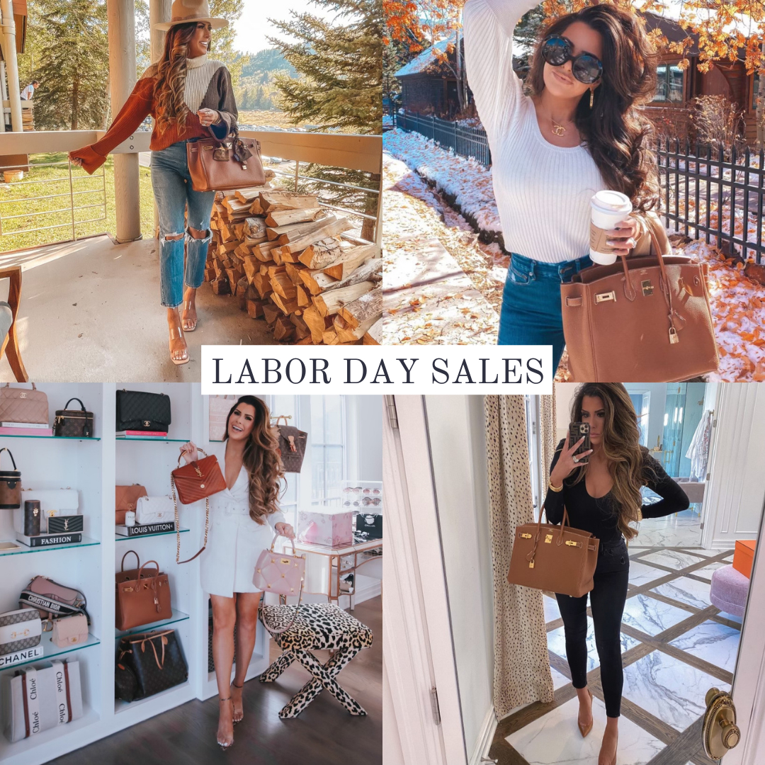 Top Labor Day Sales by popular US life and style blog, The Sweetest Thing: collage image of Emily Gemma wearing a trick color sweater, distressed jeans, felt rancher hat, clear strap espadrilles, white rib knit long sleeve shirt and jeans, white mini dress, and black long sleeve shirt with black jeans.