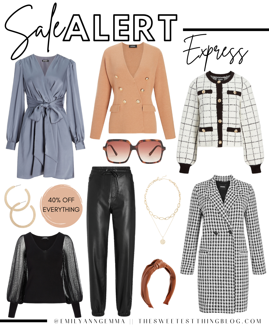 Labor Day Sales, Labor Day 2021 Sale Alert, Express Sale Picks, Fall Fashion 2021 | Top Labor Day Sales by popular US life and style blog, The Sweetest Thing: collage image of Express clothing.