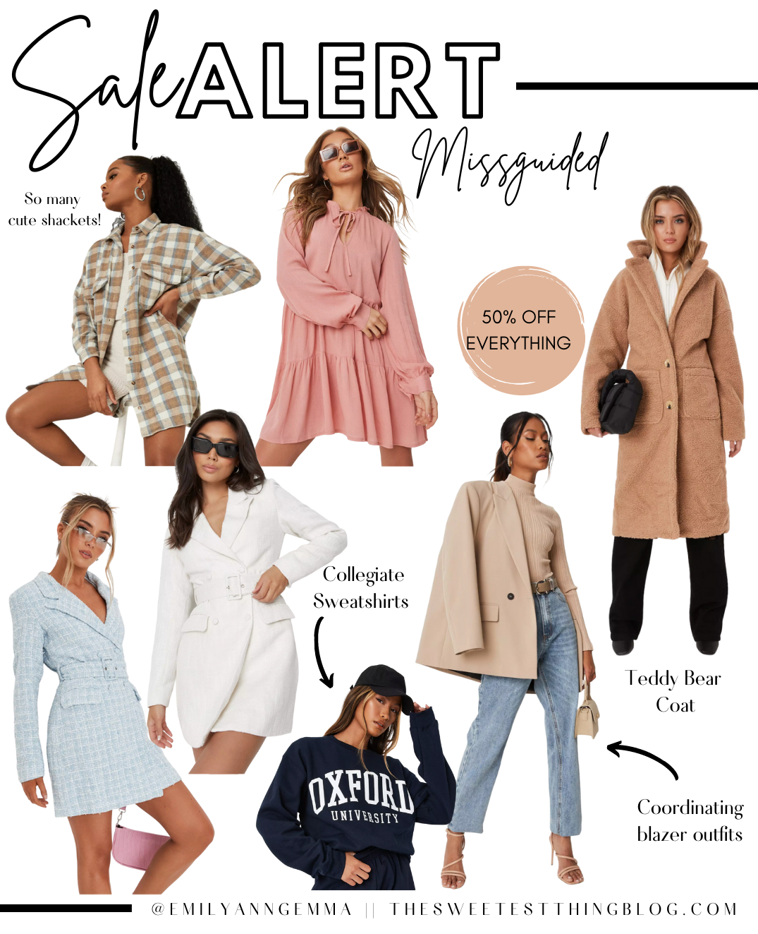 Emily Gemma Labor Day sales, misguided Labor Day sales, Labor Day 2021 | Top Labor Day Sales by popular US life and style blog, The Sweetest Thing: collage image of Missguided clothing.