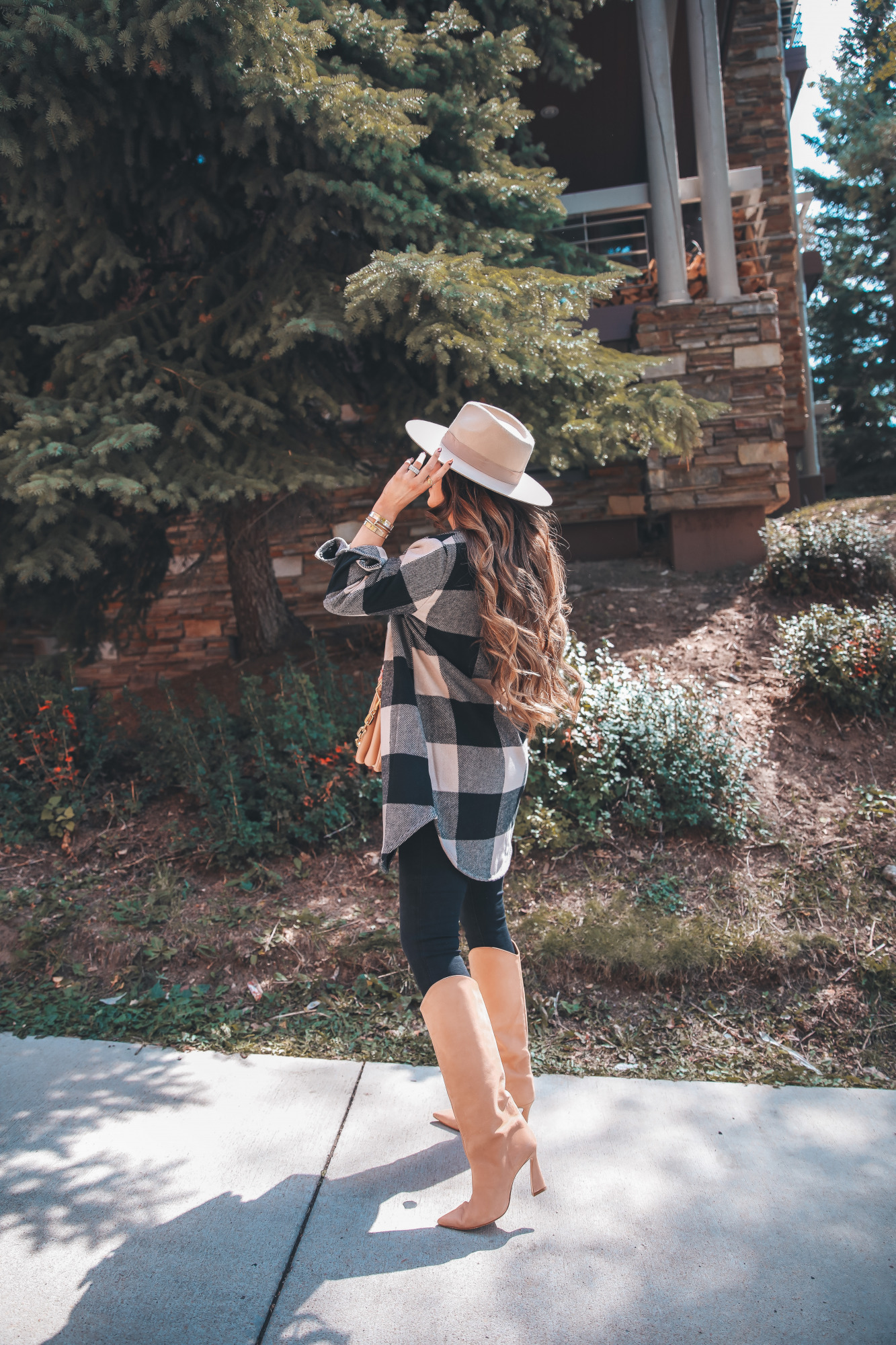 BB Dakota Buffalo Plaid Jacket styled for fall by top US fashion blogger, The Sweetest Thing.